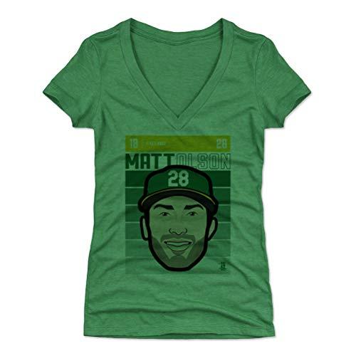 500 LEVEL Matt Olson Women's V-Neck Shirt Medium Heather Kelly Green - Oakland Baseball Women's Apparel - Matt Olson Oakland Fade