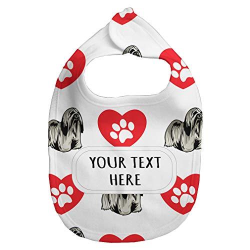 - Fleece Bib Custom Lhasa Apso Dog Heart Paws Pattern Unisex Children, One Size