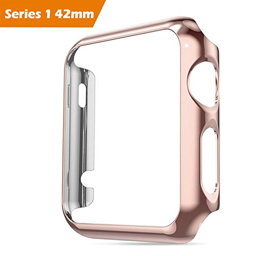 - For Apple Watch Case 42 mm Series 1, Honest kin Thin Pc Plated Plating Protective Bumper Case with Built in Screen Protector Glass for Apple Watch 42mm 2015 - Rose Gold