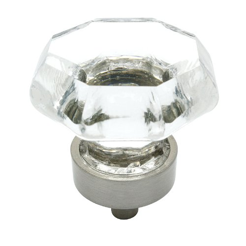 "Cosmas 5268SN-C Satin Nickel Cabinet Hardware Knob with Clear Glass - 1-5/16"" Diameter"