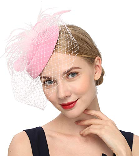 Fascinators Hats 20s 50s Hat Pillbox Hat Cocktail Tea Party Headwear with Veil for Girls and Women (B-Pink)