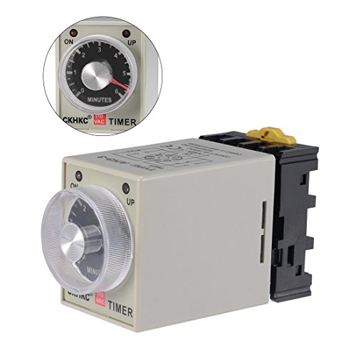 uxcell AC110V 6M 8 Terminals Range Adjustable Delay Timer Time Relay AH3-3 with - Timer Din