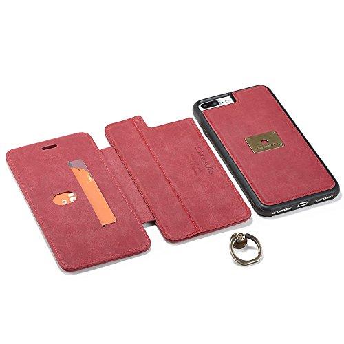 Grandcaser Funda para iPhone 7 Plus/8 Plus 5.5,Rugged Armor Premium Cuero Protectora Book Style Cover Case Flip Carcasa con Función de Desmontable Anillo Ring Stand - Rojo Rojo