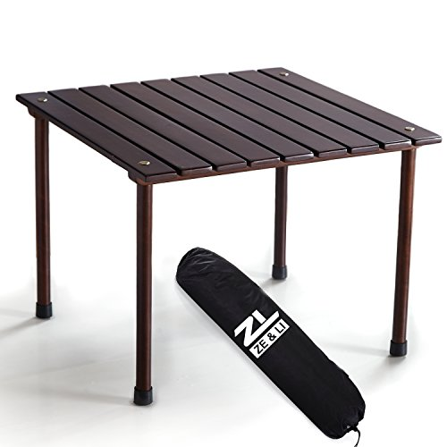 Brown HardWood Portable Picnic Table with Carrying Black Bag, One Minute Setup, Light Weight, Easy To Carry (Outdoor Hardwood Table)
