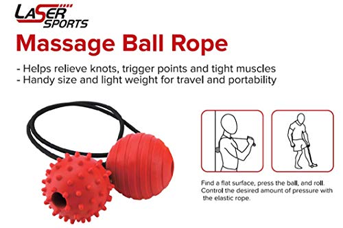 Laser Sports Massage Ball Rope - Ideal for Neck, Shoulders, Back Deep Tissue Massage, Plantar Fasciitis, Muscle Therapy - Concentrated Pressure, Post-Workout Recovery, and Targeted Pain Relief