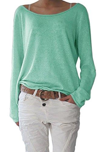 Damen Rundhalsausschnitt Langarm Lose Bluse Strickpulli Hemd Shirt Oversize  Sweatshirt in vielen Trend Farben Tops S M L XL (632)  Amazon.de  Bekleidung 31d86776e4