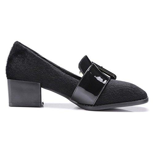 COOLCEPT Zapato Mujer Moda Hebilla Belt Tacon Bajo Bombas Zapatos Brogues Flocking Zapato Negro