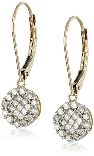 10K Yellow Gold Diamond Round Dangle Earrings (1/2 cttw) ()