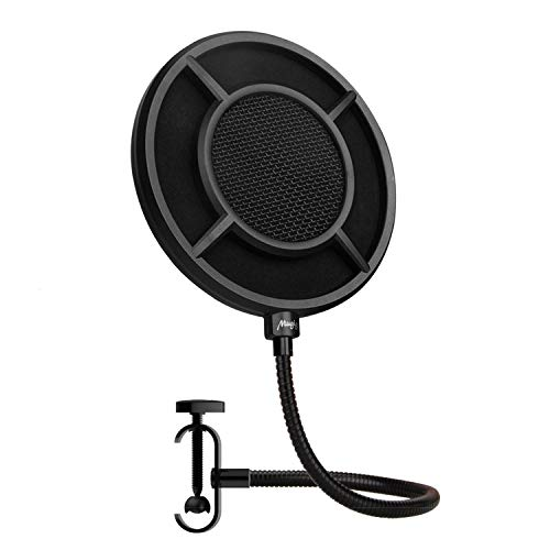 Mugig Universal Pop Filter Mesh Metal Mezzanine with Double Nylon layer, Reinforce Arm, Studio Microphone Wind Screen for Blue Yeti Mic Recording and Broadcasting 6 inch NP-1