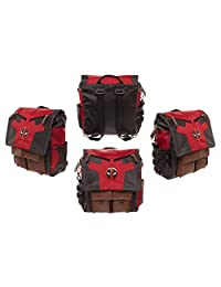 2in1 Dlx Marvel Comics Deadpool Costume Inspired Backpack Messenger School Bag