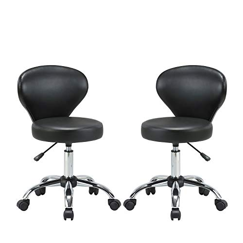 KLASIKA Rolling Swivel Salon Stool Chair with Back Support Adjustable Hydraulic for Office Massage Facial Spa Medical Drafting Tattoo Beauty Barber 2 Pack