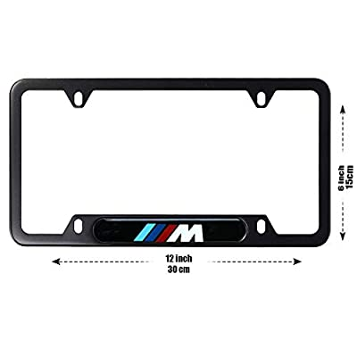 2pcs Newest Matte Aluminum Alloy M Logo License Plate Frame, with Screw Caps Cover Set Suit,Applicable to US Standard car License Frame,for BMW M.: Automotive