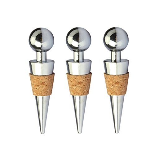 3PCS Wine Bottle Stoppers Zinc Alloy Vacuum Stoppers Reusable Wine Bottle Caps/Beer Sealer Cover (Round)