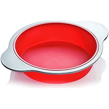 Silicone Round Cake Pan | Large 9-inch Baking Cake Mold by Boxiki Kitchen | Best Non-Stick Bakeware | FDA-Approved Silicone w/ Heavy Grade Steel Frame and Handles