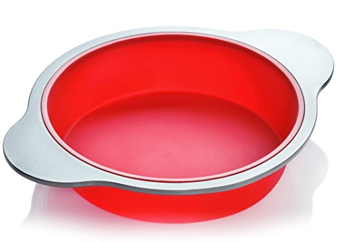 Silicone Round Cake Pan | Large 9-inch Baking Cake Mold by Boxiki Kitchen | Best Non-Stick Bakeware | FDA-Approved Silicone w/ Heavy Grade Steel Frame and Handles (Silicon Cake Pans)