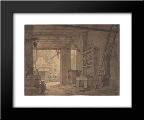 (Anonymous Artist, German 19th Century - Anonymous Artist, German 18th Century - 18x15 Framed Museum Art Print- Interior of Farm House )