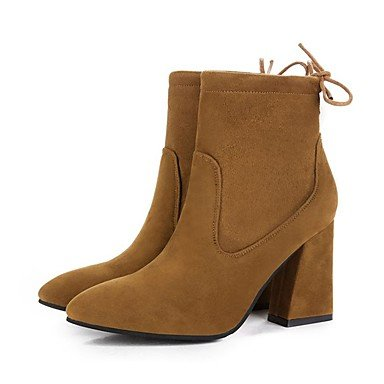 Women's Shoes Suede Fall Combat Boots Boots Chunky Heel Round Toe Bowknot For Dress Black Brown Black BPOBa