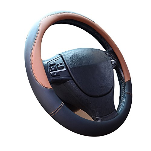 Price comparison product image Microfiber Leather Steering Wheel Covers Universal 15 inch, Brown
