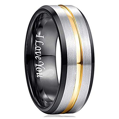 (NUNCAD Tungsten Ring for Men Wedding Band 8mm Black Groove Plated Gold High Polished Size 13)