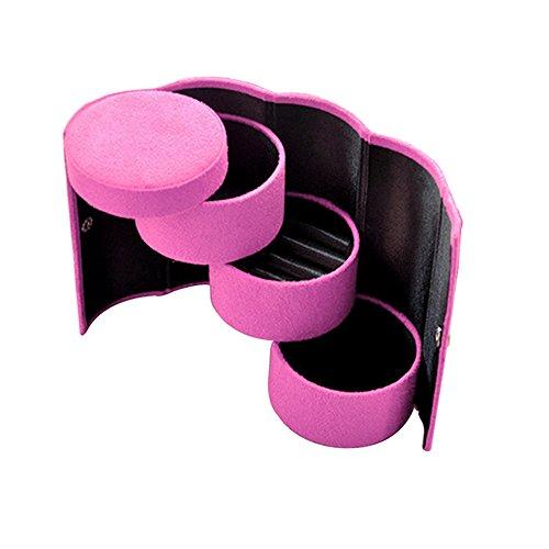 FUNOC Velvet Jewelry Jewellery Beads Gift Ring Bracelet Organizer Organiser Case Box (Hot Pink)