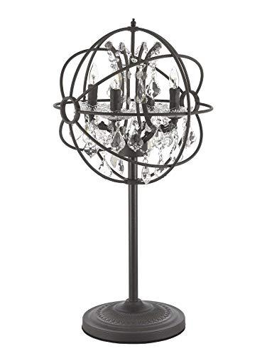 Spherical Iron & Crystal 4 Light Table Lamp Desk Lamp Bedside Lamp Rust Finish Industrial Lighting