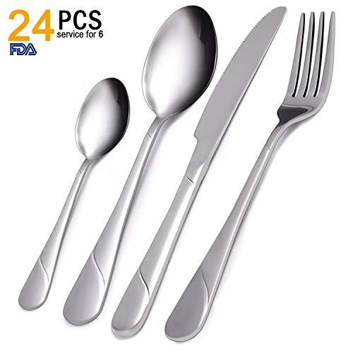 Flatware Set, VKEEW 24-Piece Silverware Set Stainless Steel Cutlery Set for Home Kitchen Hotel Restaurant Tableware, Dishwasher Safe (Style 6)