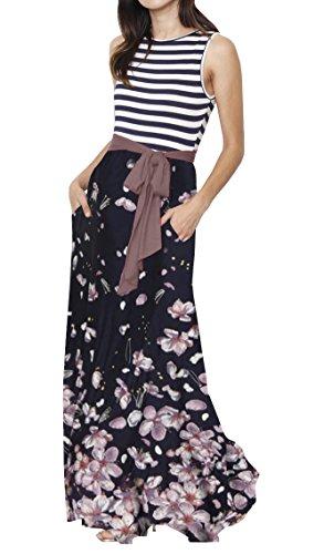 Pleated Navy2 Womens Floral Sleeve Belt Long with Dress Makkrom 3 Waist Dresses High 4 Maxi zFd6Zq