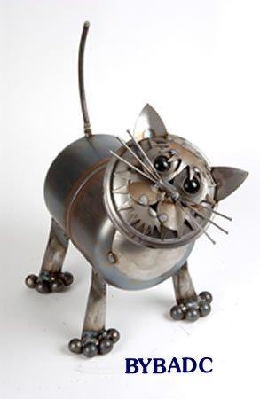 Tubby Junkyard Cat Metal Sculpture