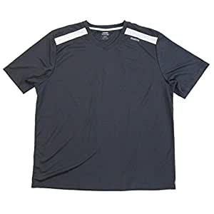 Reebok Mens Athletic Fitness Reflective Shirt Short Sleeve Dark Gray (Medium)