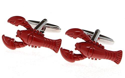 Mens Cuff Links Set Bright Red Lobster Fashion Jewelry