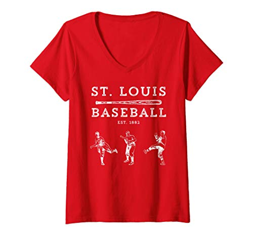 (Womens Classic St. Louis Missouri Baseball Fan Retro V-Neck T-Shirt)