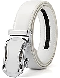 Men's Jefferson Buckle with Automatic Ratchet Leather Belt 35mm Wide 1 3/8""