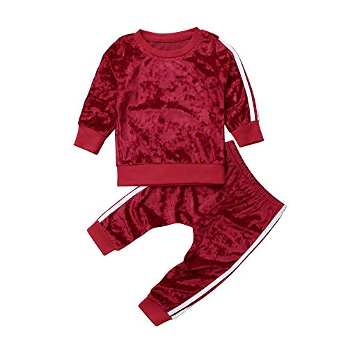 (Little Girls' 2 Pieces Long Sleeve Sweatshirt Tops Pants Leggings Clothes Set Outfit (Red, 1-2 Years))