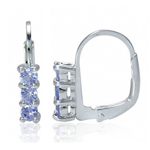 3-Stone Genuine Tanzanite 925 Sterling Silver Leverback Earrings
