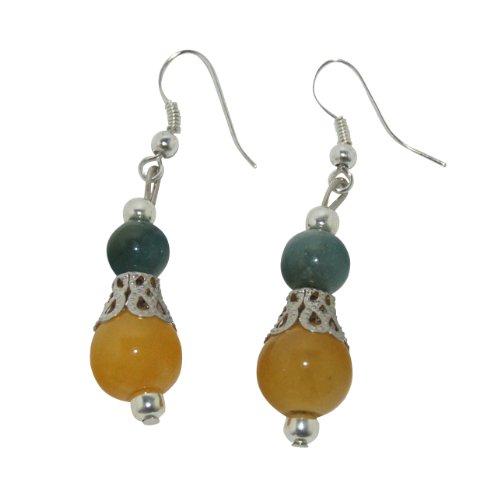 Multi Color Earrings Jade (Jade Earrings Multi Color Jade Silver Plate Accents)