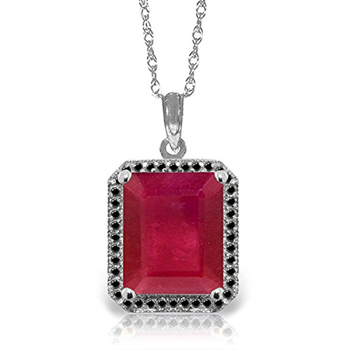 14K Solid White Rose Yellow Gold Halo Design Necklace with Natural Black Diamonds & Emerald Cut Ruby 5198 (24, white-gold)