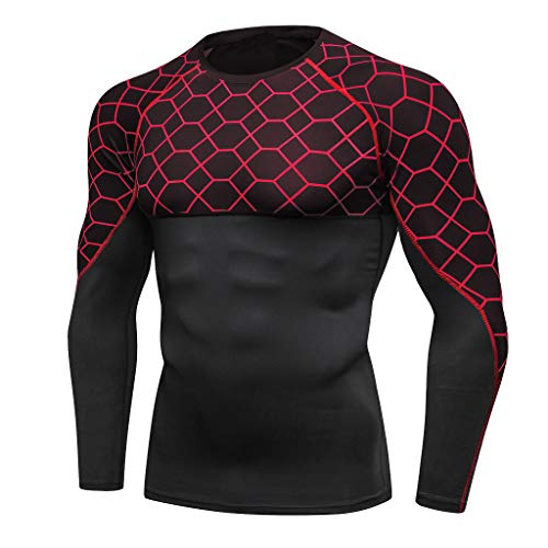 Compression Cool Dry Sports Tops for Men Shirt Baselayer Running Leggings Yoga Rashguard Beautyfine Red ()