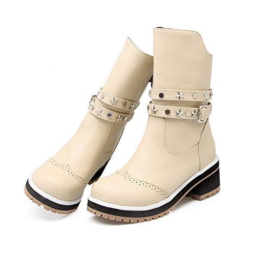 A&N Ladies Chunky Heels Platform Buckle Imitated Leather Boots Beige ujOmVBq8