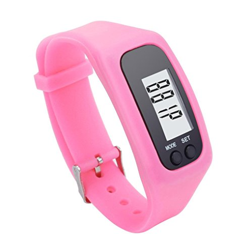 Perman Durable Digital LCD Pedometer Run Step Walking Distance Calorie Counter Watch Bracelet (Pink )