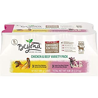 Purina Beyond Grain Free, Natural Pate Wet Dog Food, Chicken & Beef Recipe Variety Pack - (2 Packs of 6) 13 oz. Cans