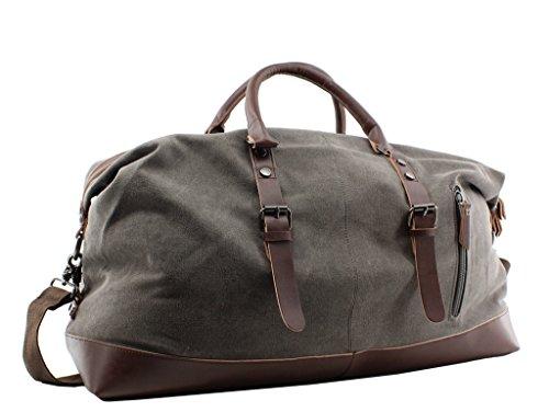 Jiao Miao Overnight Canvas Leather Travel Tote Duffel Shoulder Handbag Bag,170805-gery
