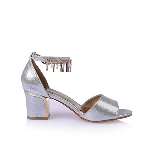 AllhqFashion Women's Buckle Open Toe Kitten-Heels Microfiber Solid Sandals Silver R4yk1