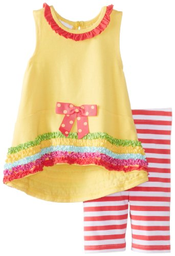 Bonnie Baby Baby-Girls Newborn Knit Top with Bouquet Applique To Knit Capri, Yellow, 3-6 Months (Yellow Capri Set Clothes Dot)