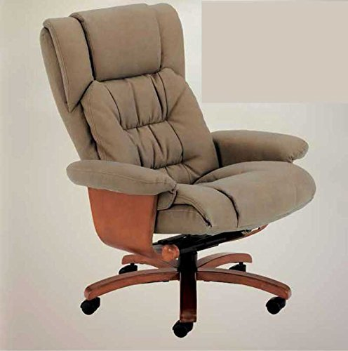 Oslo Collection VINCI OFFICE-914-103 Vinci Bonded Leather Swivel Reclining Office Chair with Wood Accents, Stone Nubuck