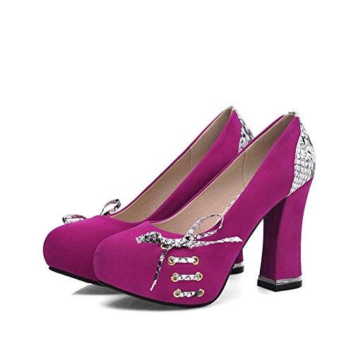 AllhqFashion Damen Rund Zehe Hoher Absatz Gemischte Farbe Ziehen auf Pumps  Schuhe Rosa ...
