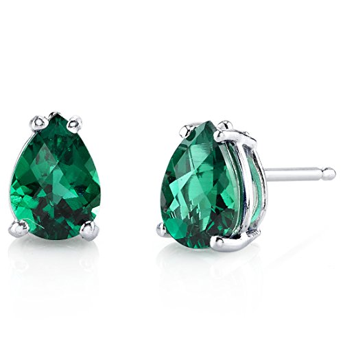 14 Karat White Gold Pear Shape 1.25 Carats Created Emerald Stud Earrings