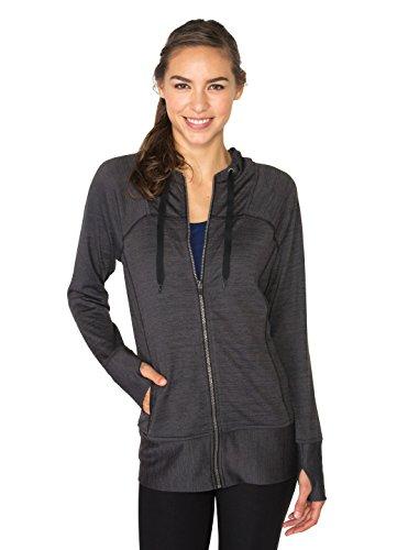 (RBX Active Women's Lightweight Sweater Zip Hoodie Jacket With Contrast Trim)