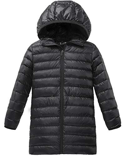 ff6e8d43774f Wantdo Girl s Long Lightweight Down Jacket with Hood Packable Warm ...
