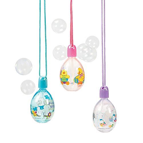 Fun Express - Egg-Shape Bubble Bottle Necklaces for Easter - Toys - Bubbles - Bubble Necklaces - Easter - 12 Pieces