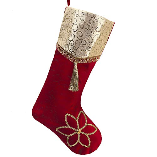 White And Gold Christmas Stockings (Valery Madelyn 21 inch Luxury Red Gold Christmas Stockings with Christmas Flower and Jacquard Cuff, Themed with Tree Skirt (Not)
